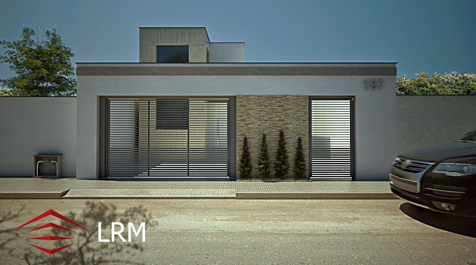 Lrm projetos arquitet nicos 3d fachada de casa for Casa contemporanea