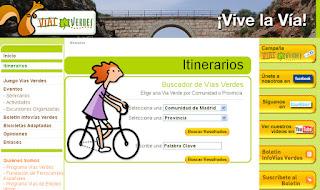 Menú de búsqueda de itinerarios en la web de Vías Verdes