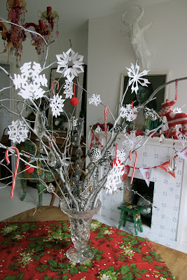 vintage christmas decoration homemade twig snowflake paper
