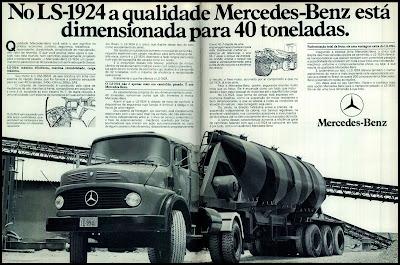 propaganda caminhão Mercedes-Benz LS-1924 - 1978.  brazilian advertising cars in the 70s; os anos 70; história da década de 70; Brazil in the 70s; propaganda carros anos 70; Oswaldo Hernandez;