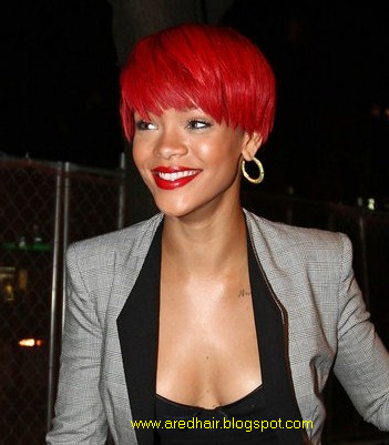 Red Hair Color Fashion of 2012: Current Rihanna Red Hair style of 2012