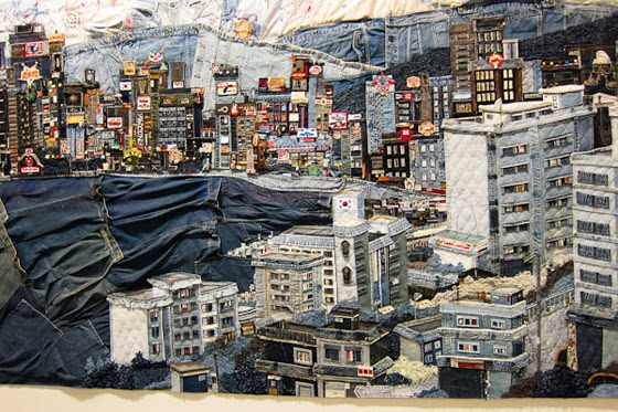 "Textile Denim Art ""Sightseeing city"" By Choi So Young"