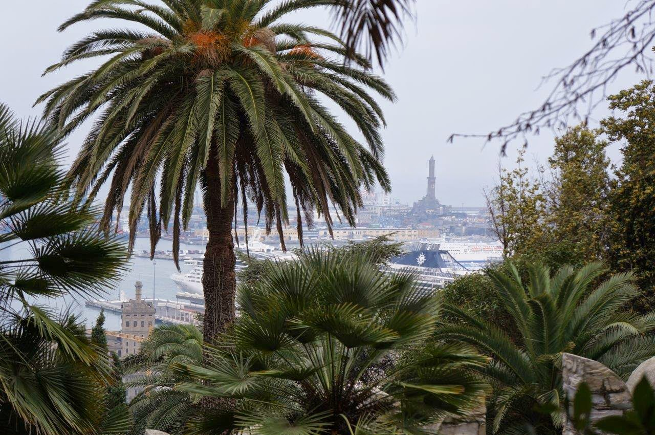 View to the port from the Albertis Castle (Castell d'Albertis) in Genoa Italy.