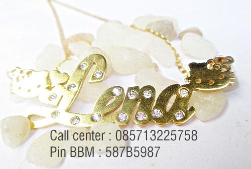 kalung nama lapis emas permata