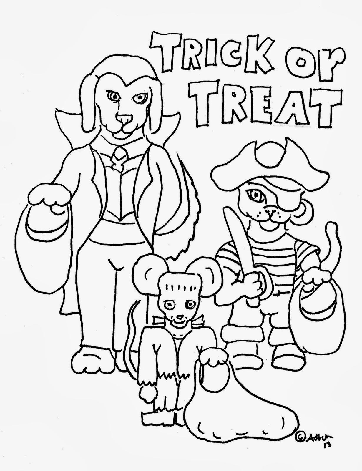 Trick or Treat Coloring Pages to Print For Kids
