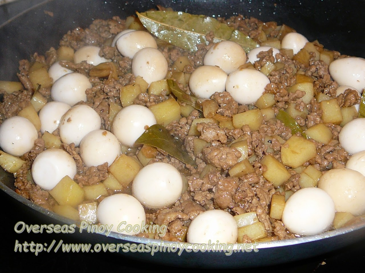 Ground Pork Adobo with Quail Eggs - Cooking Procedure