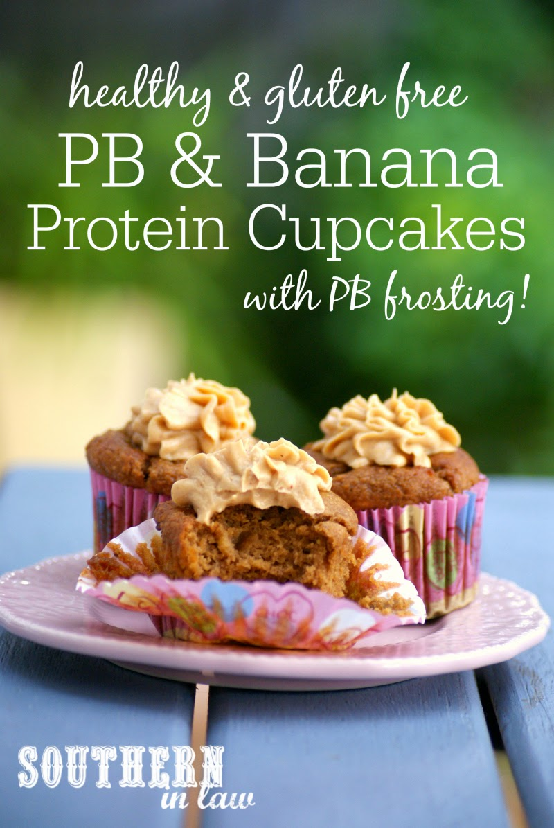 Low Carb Peanut Butter and Banana Protein Cupcake Recipe  low fat, low carb, gluten free, high protein, sugar free, clean eating friendly