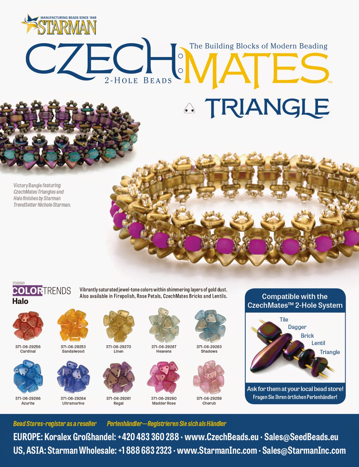 Victory Bangle with CzechMates Triangles by Nichole Starman