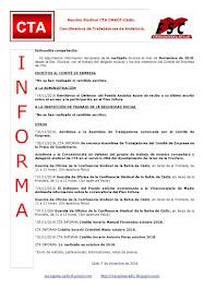 C.T.A. INFORMA, LO REALIZADO EN NOVIEMBRE DE 2018