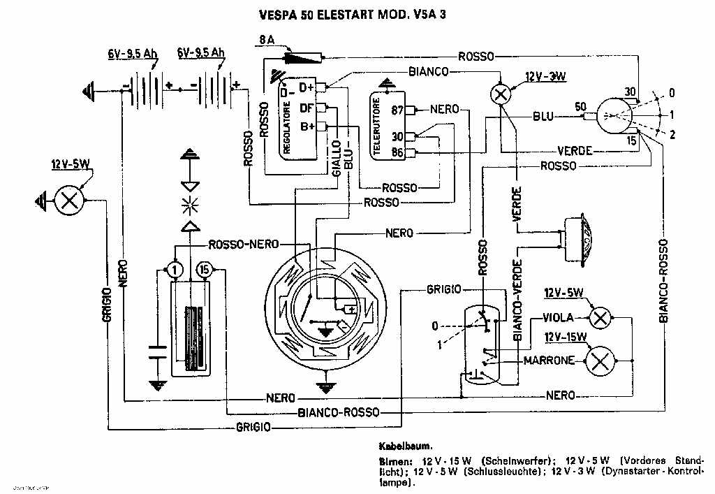 Vespa 50 Elestart Model V5a3t Wiring Diagram