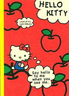 Hello Kitty with apple notepad