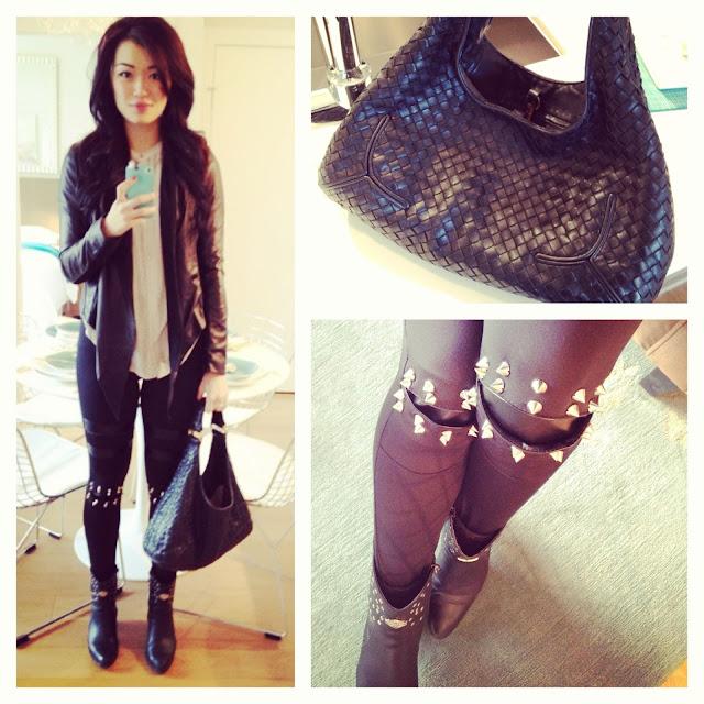 romwe leggings, trendy leggings, rivets details knee leggings, street style, trendy outfit, vancouver