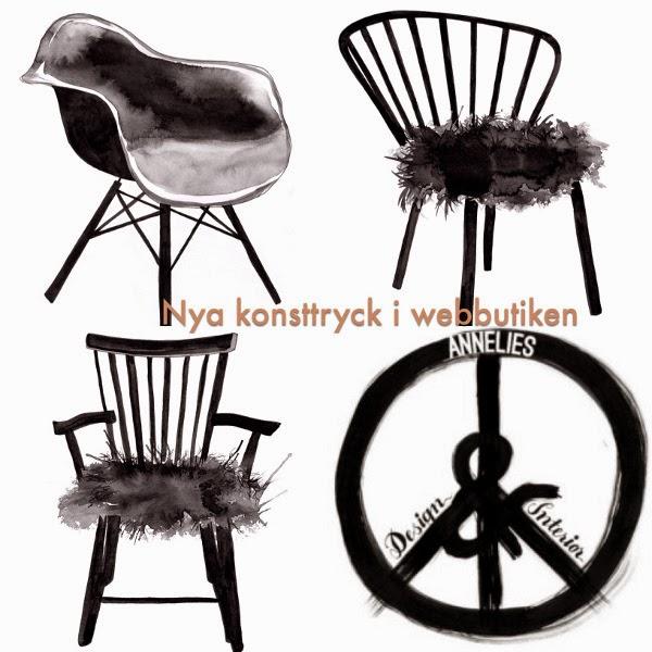 poster, posters, tavla med stol, tavlor med stolar, design, konsttryck, svart och vitt, svartvita, svartvit artprint, chair, chairs, fårskinn på stolar, webbutik, webshop, snyggt på väggen, presenttips,
