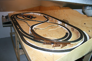 Model train layout with control panel