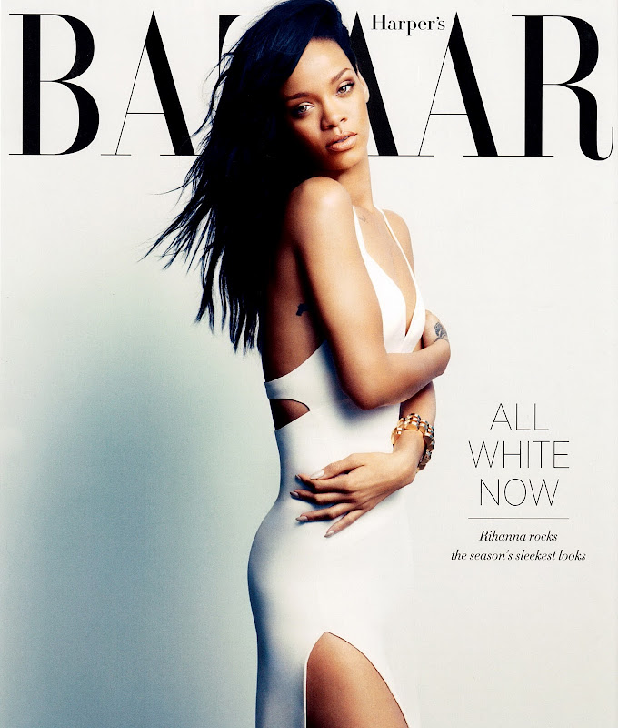 Rihanna in a tight white dress for  Harper's Bazaar August 2012 Issue