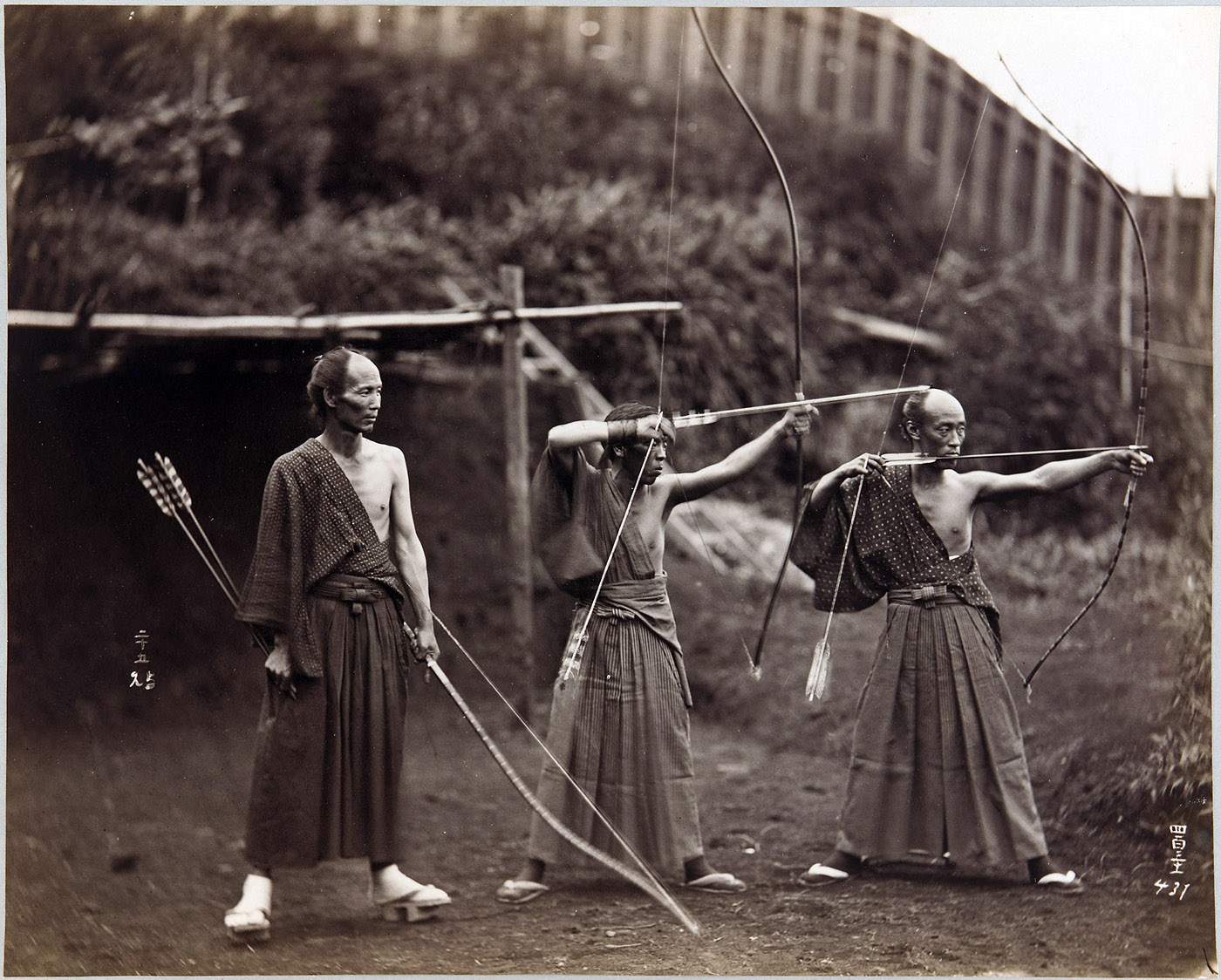 25 Breathtaking Photos From The Past - Three archers, Japan, ca.1860-1900