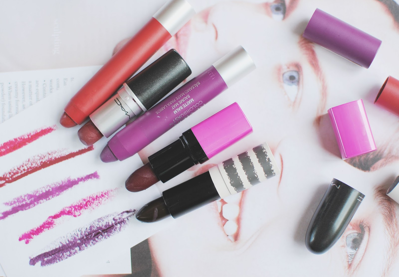 blod lips , revlon, topshop, mac, barry m