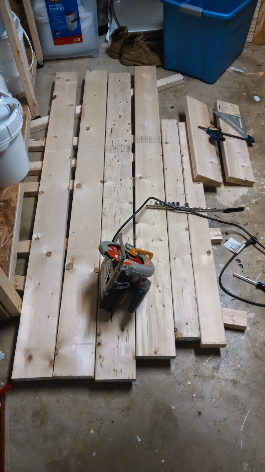dimensional lumber laid out