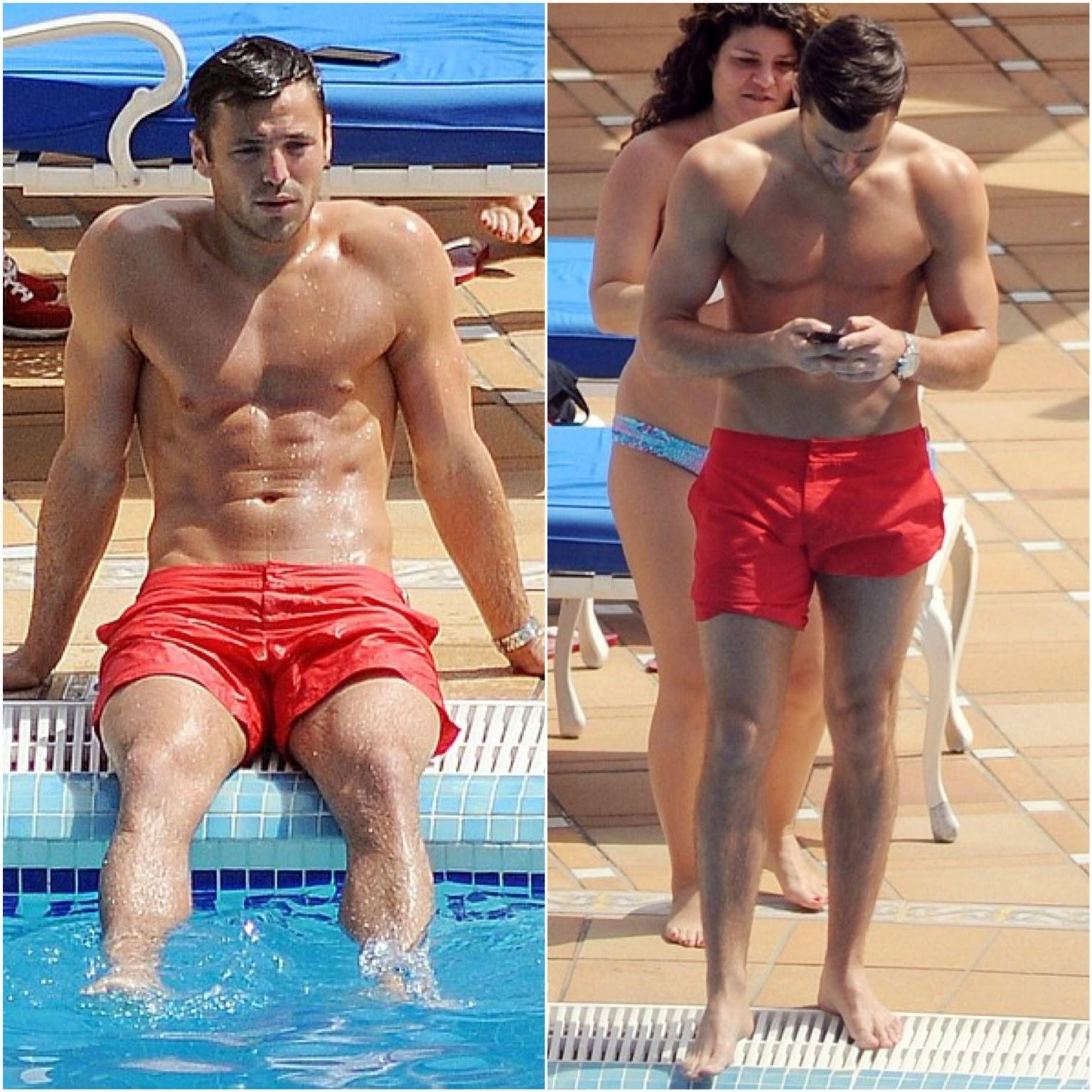 00O00 Menswear Blog: Mark Wright in Orlebar Brown Bulldog red swim shorts - Spain May 2013