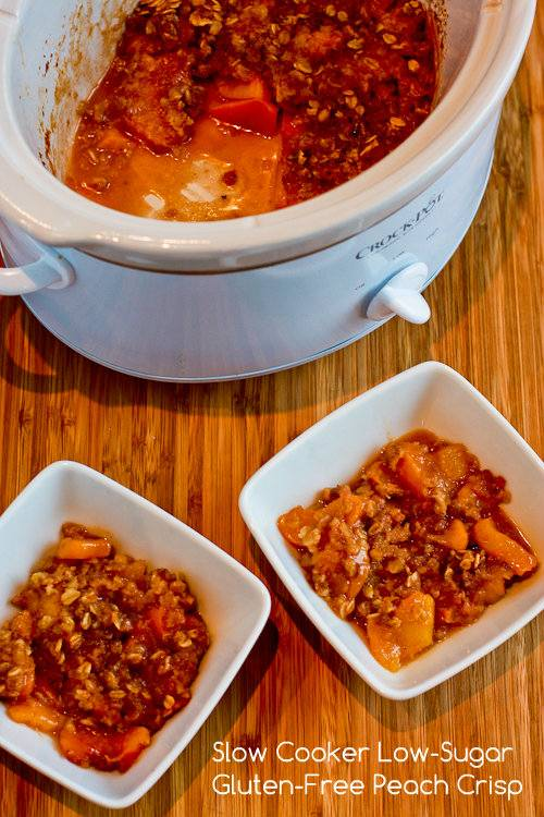 Slow Cooker Low-Sugar and Gluten-Free Peach Crisp