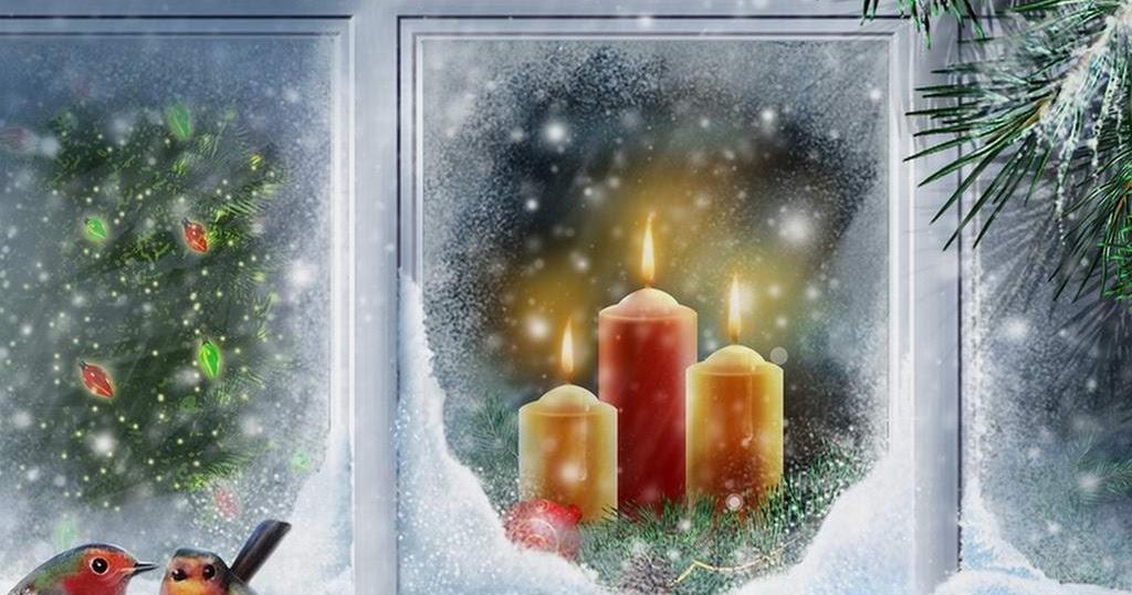 Snijeg, Božić, svijeće uz prozor  Besplatne e-card čestitke - download
