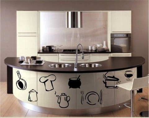 Adesivos de parede for Simple small kitchen design pictures