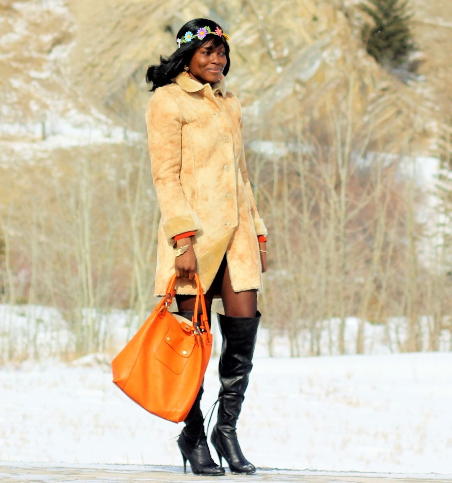 Perfect Winter Jacket Styled With Over The Knee Boots