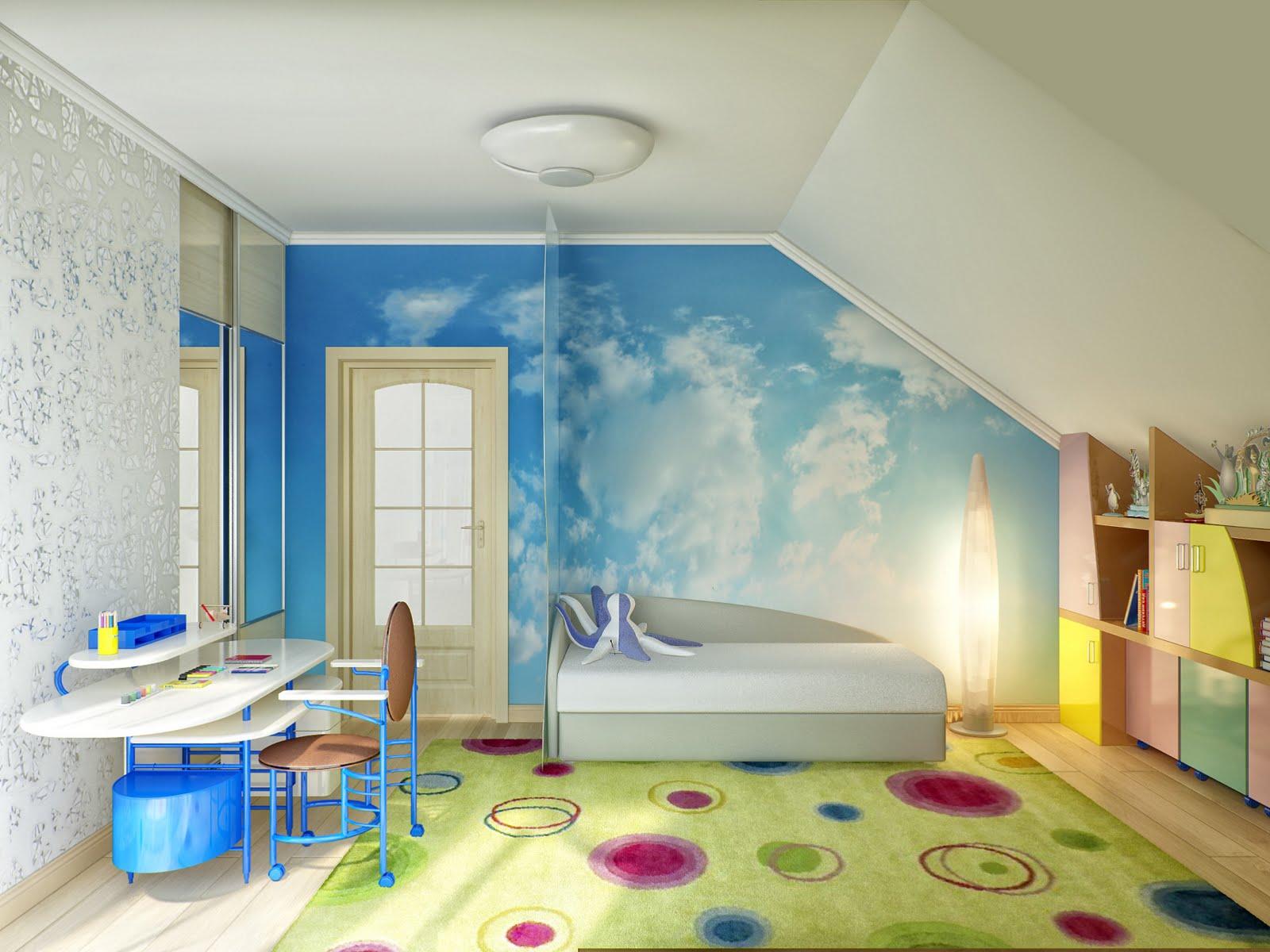Особенности оформления детской комнаты на мансарде, фото дизайнов интерьера  детской мансардной комнаты для мальчиков иМебель для детской, оборудованной на этаже мансардного типа, отвечает тем же параметрам, что и при оборудовании обычной  детской