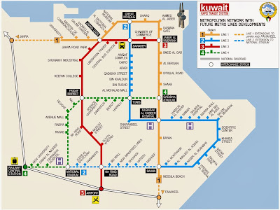Mapa do metrô da cidade de Kuwait