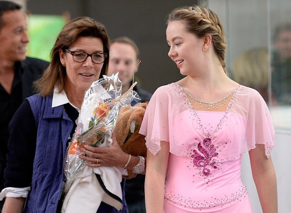 Princess Caroline of Monaco and her daughter Alexandra of Monaco after the junior ladies free skating of ISU Junior Grand Prix of figure skating