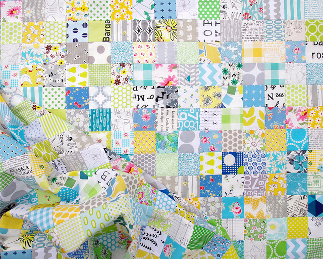 Green and Blue Patchwork Quilt | Red Pepper Quilts 2015