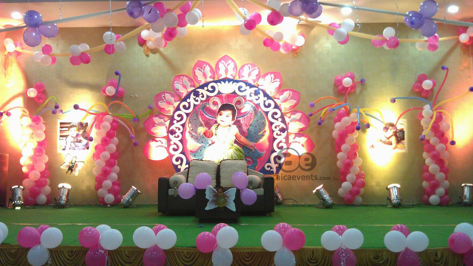 Aicaevents india butterfly theme birthday party decorations for Balloon decoration for stage