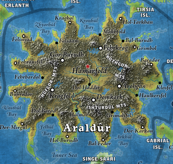 Calidar: In Stranger Skies, Great Caldera, Araldûr, dwarf, Kragdûras, fantasy map