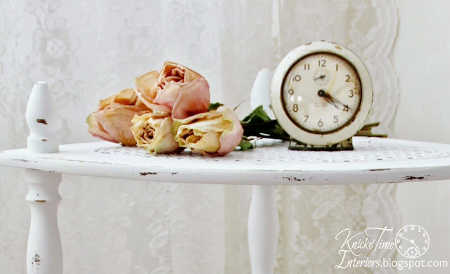 Dried Pink Roses-Chalk Paint-Furniture-Caned Wooden Corner Stand via http://knickoftimeinteriors.blogspot.com/