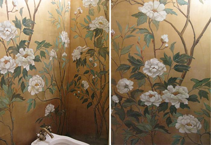 técnicas antiguas pintura mural interior baño diseño chinoiserie