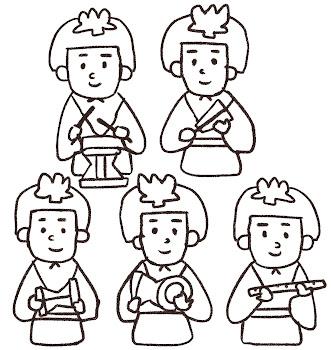 五人囃子のイラスト(ひな祭り)線画