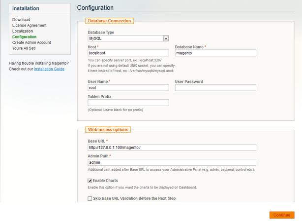 magento database configuration