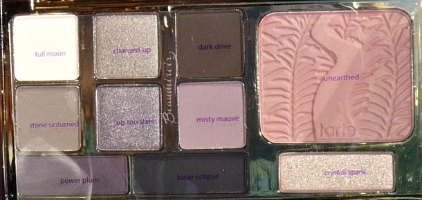 Tarte Energy Noir Clay Palette for eyes & cheeks: eyeshadow and blush shades with their names