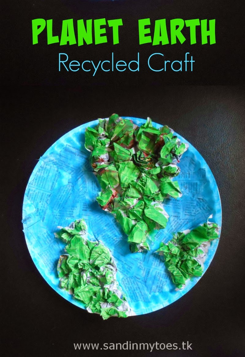 Earth Day craft for kids using old newspaper