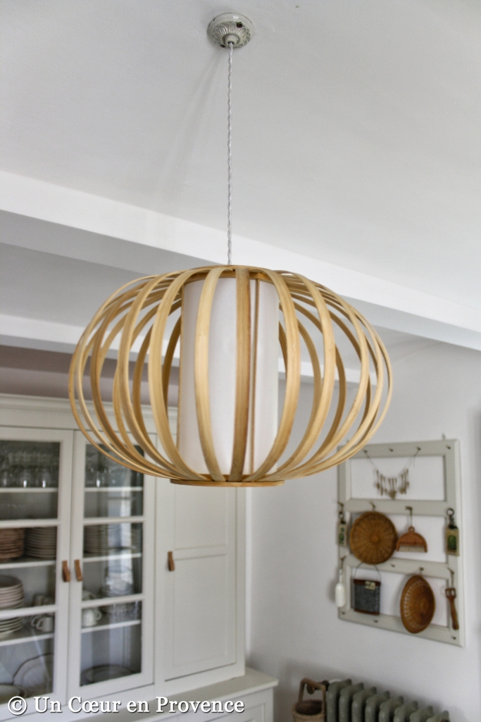 A bamboo ceiling lamp