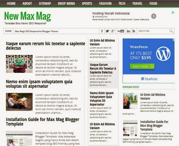 Template Blog SEO dan Responsif New Max Mag