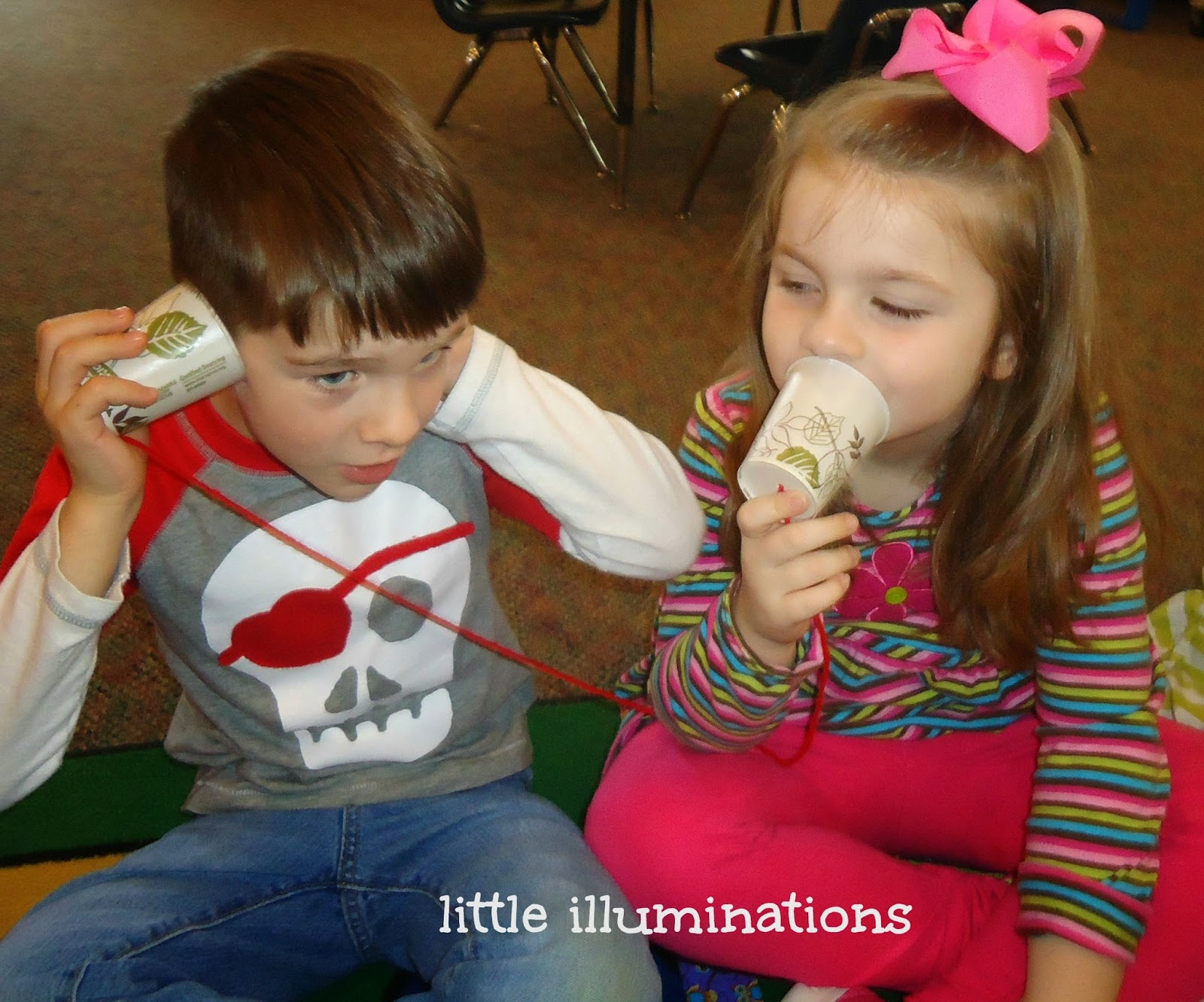 Little illuminations just playing paper cup telephones - Cups and kids ...