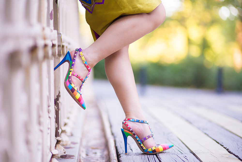 Valentino rainbow-multicolor rock stud heels