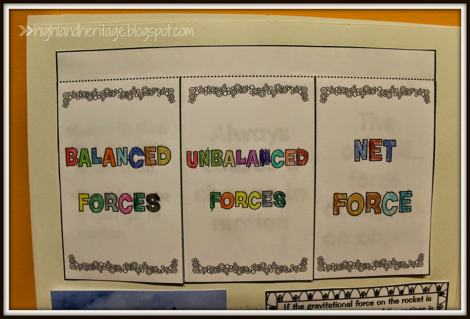 Highland Heritage Homeschool Interactive Science Notebook – Balanced and Unbalanced Forces Worksheet