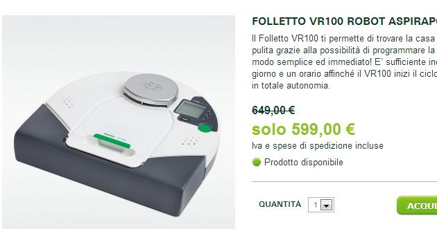 Casa immobiliare accessori folletto vr100 prezzo opinioni - Robot aspirapolvere folletto prezzo ...