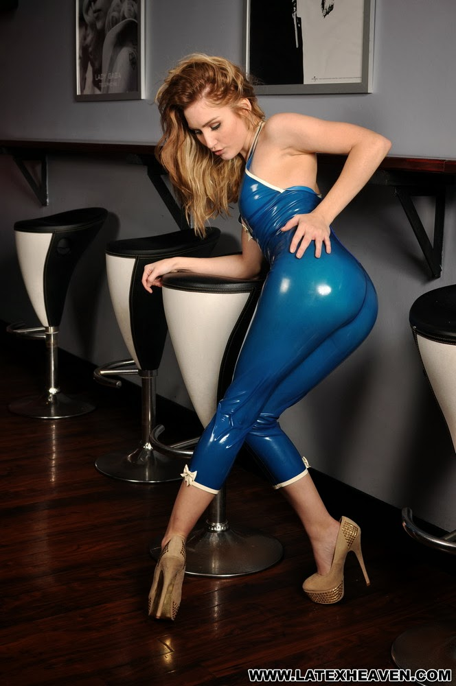 Rachelle Summers Latex Heaven Blue Trans Latex Catsuit