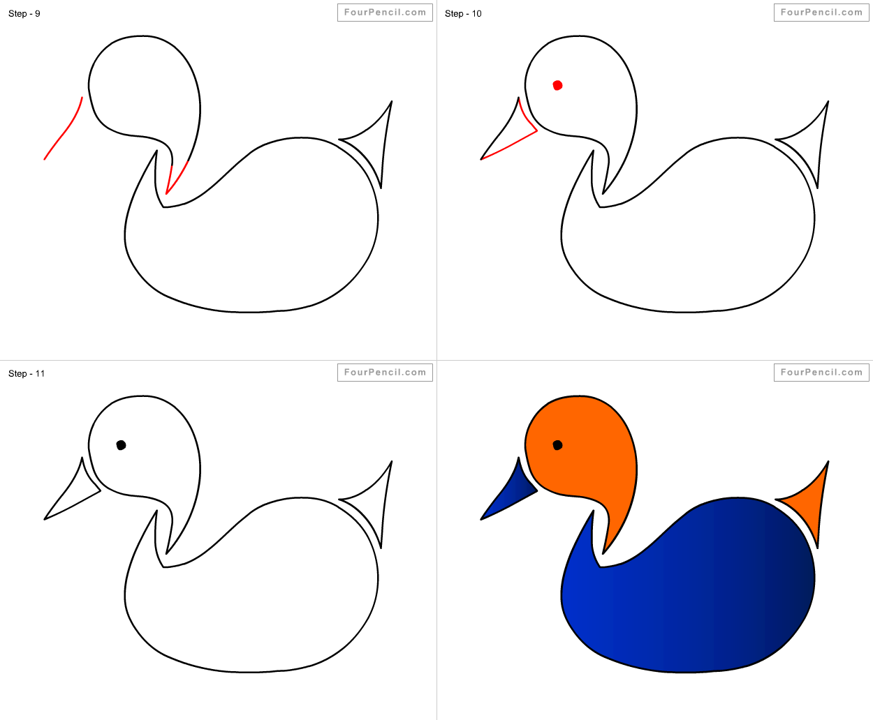 fpencil how to draw duck for kids step by step