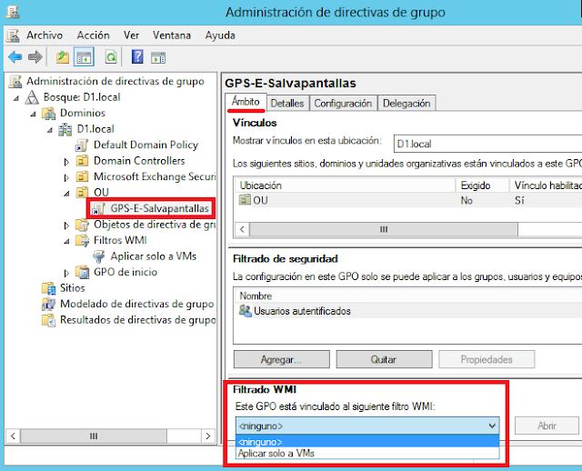 Aplicación filtro WMI sobre una GPO