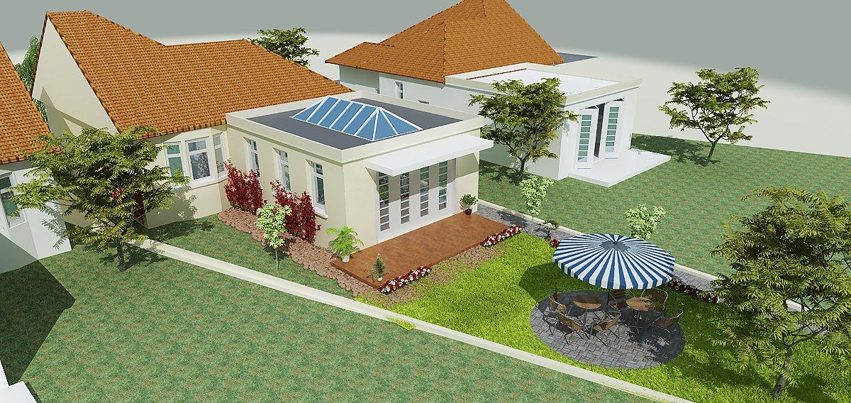 3d front 3d house plan maps front elevation for House map 3d