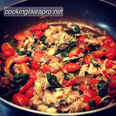 Cooking Crab Pasta with Basil